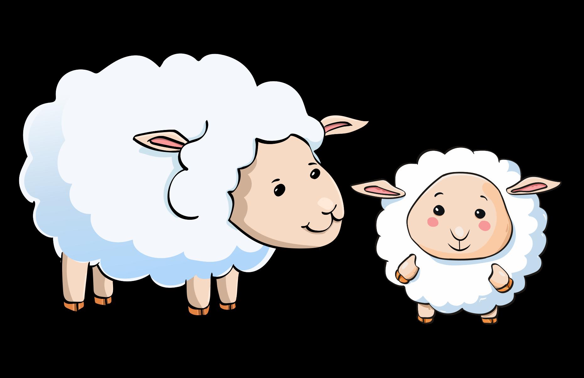 Cartoon sheep and lamb.
