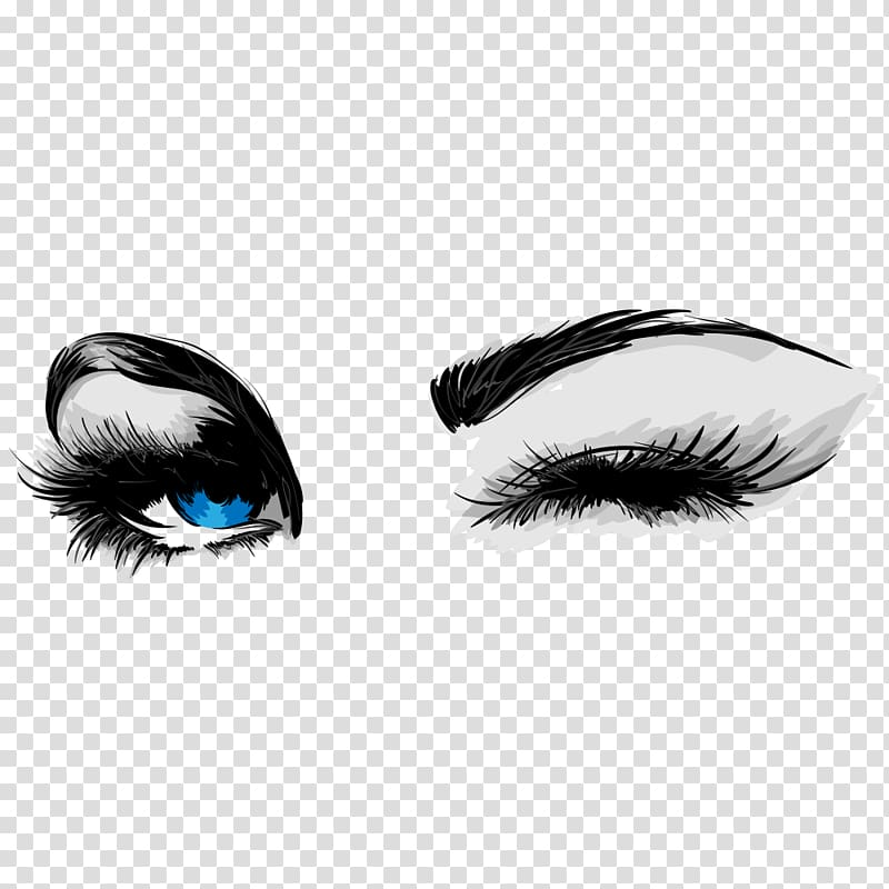 Woman\'s eye illustration, Mascara Cosmetics Eyelash Business.