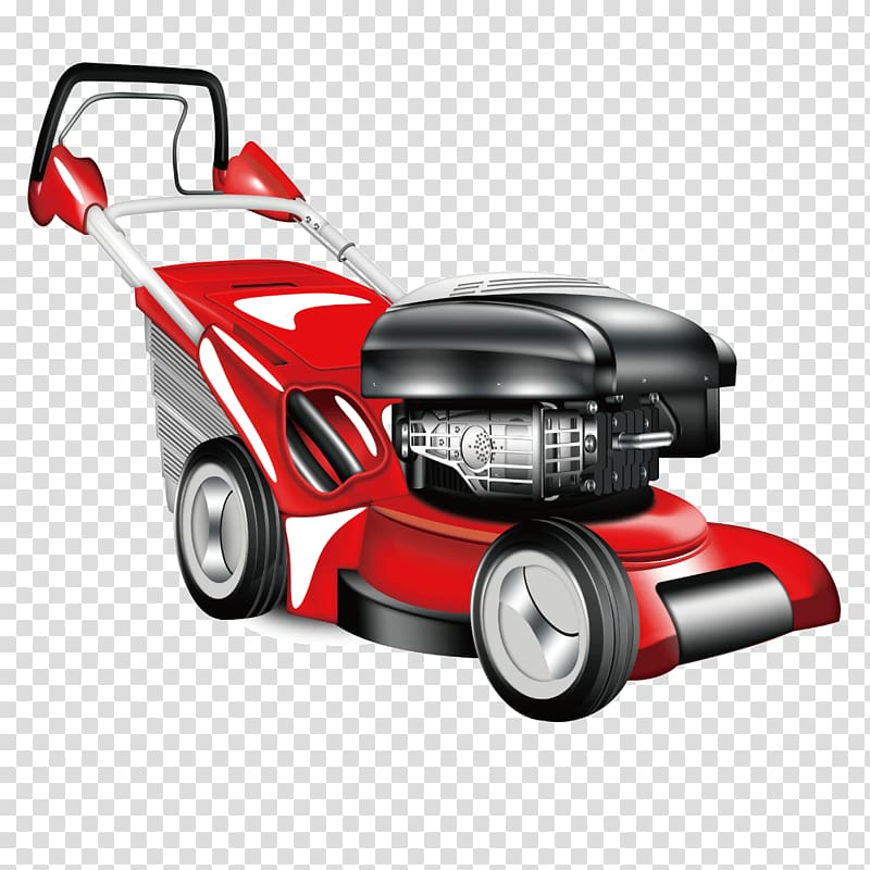 Car Lawn mower Garden, Cartoon red car weeding transparent.