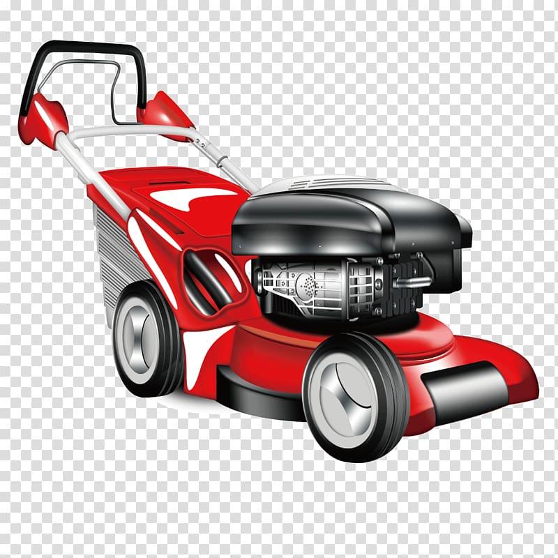 Car Lawn mower Garden, Cartoon red car weeding transparent.
