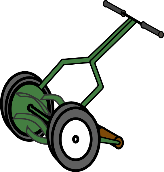 Cartoon Push Reel Lawn Mower Clip Art at Clker.com.
