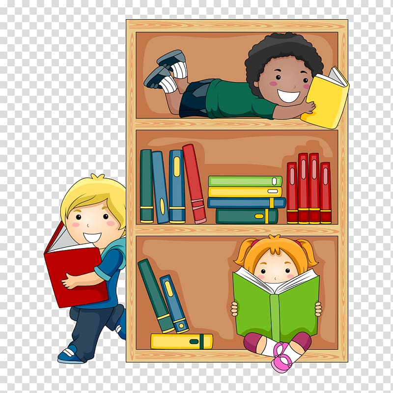 Boy and girl reading book on shelf, Public library Child.