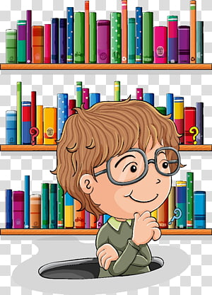 Library Librarian , Cartoon books transparent background PNG.