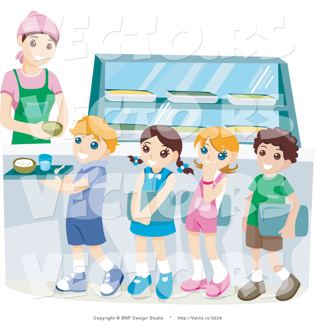 School Lunch Line Clipart.