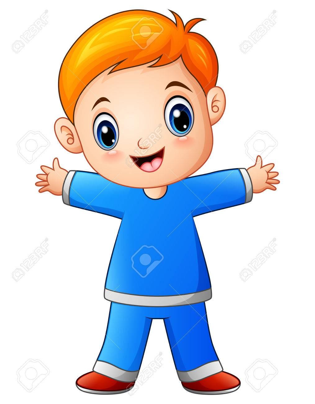 Cute little boy cartoon in blue shirt.