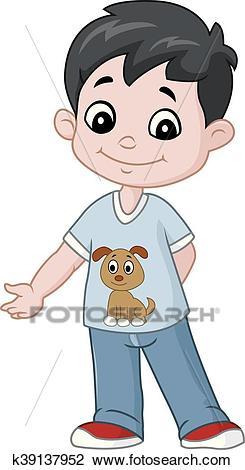 Happy little boy cartoon Clipart.