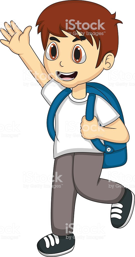 Little Boy Carrying A Backpack And Waving His Hand Cartoon.