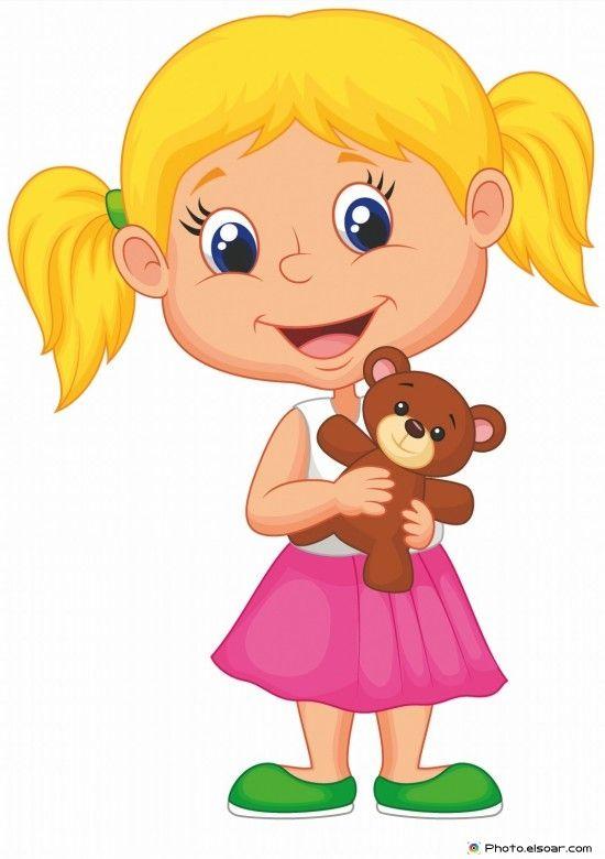 Little girl holding bear stuff.