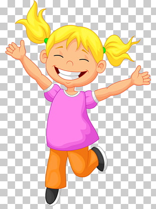 Child Free content , Happy little girl jumping PNG clipart.