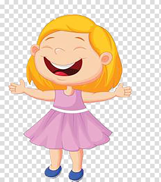 Singing Illustration, Happy laugh yellow cartoon little girl.