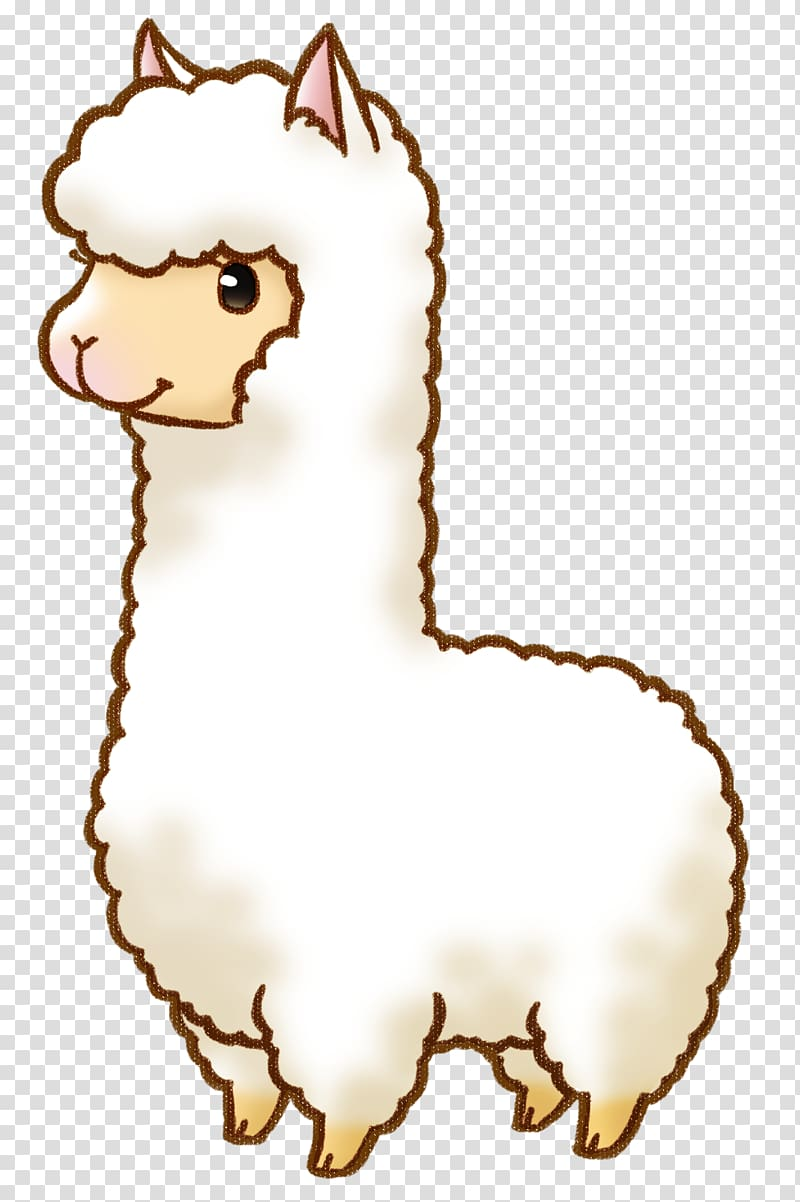 Animated white sheep, Alpaca Llama Drawing Cartoon.