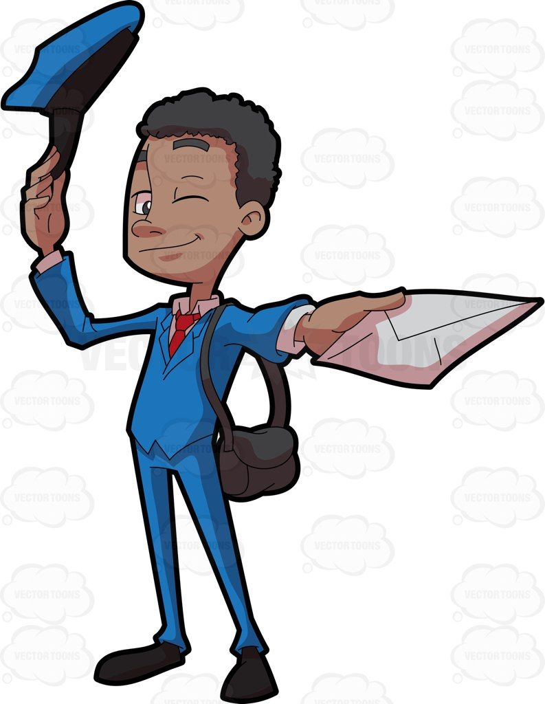 A black mailman delivering a letter #cartoon #clipart.