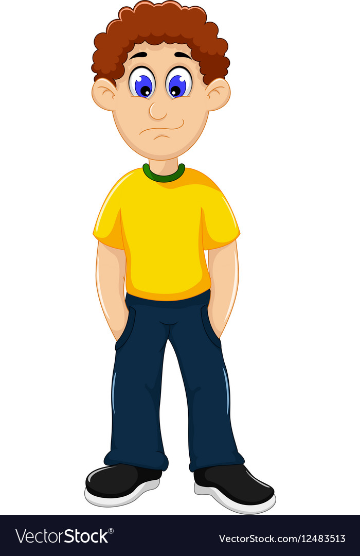 Cute man cartoon standing.