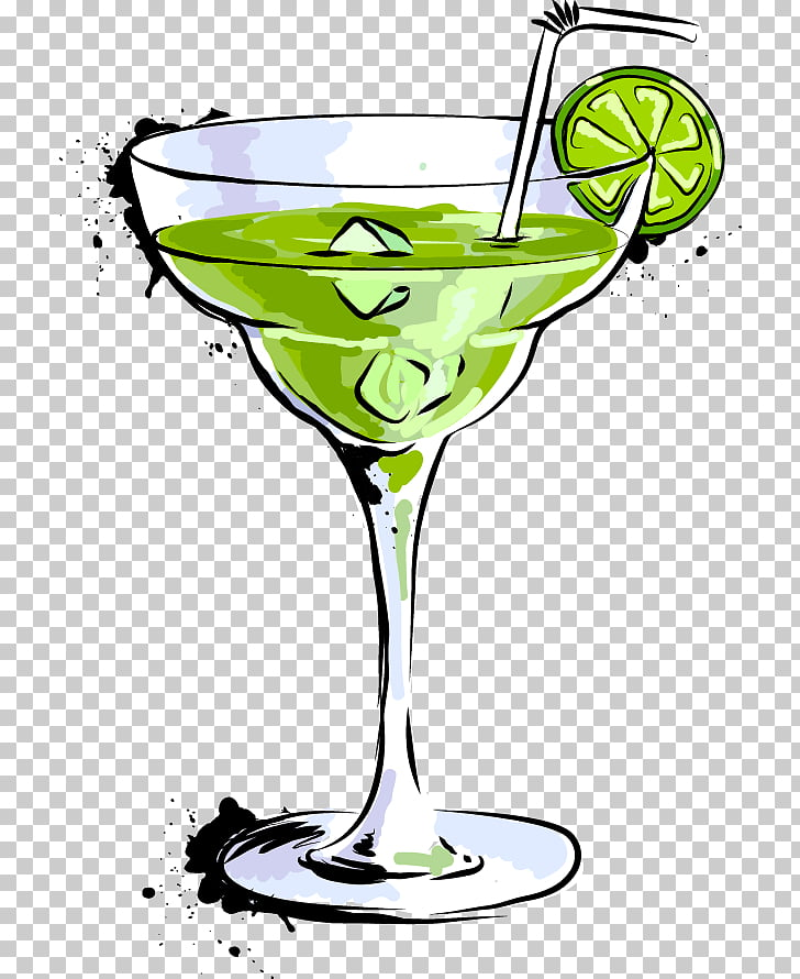 Cocktail Margarita Martini Drink, Cartoon food drink bar.