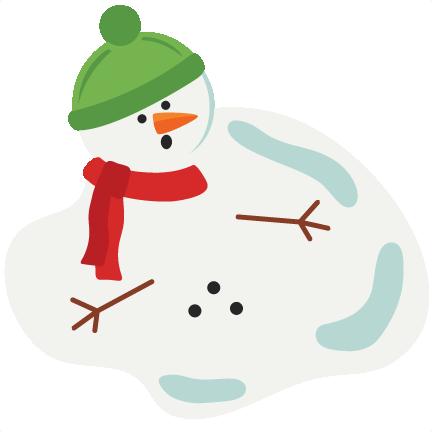 Cute Melting Snowman Clipart.
