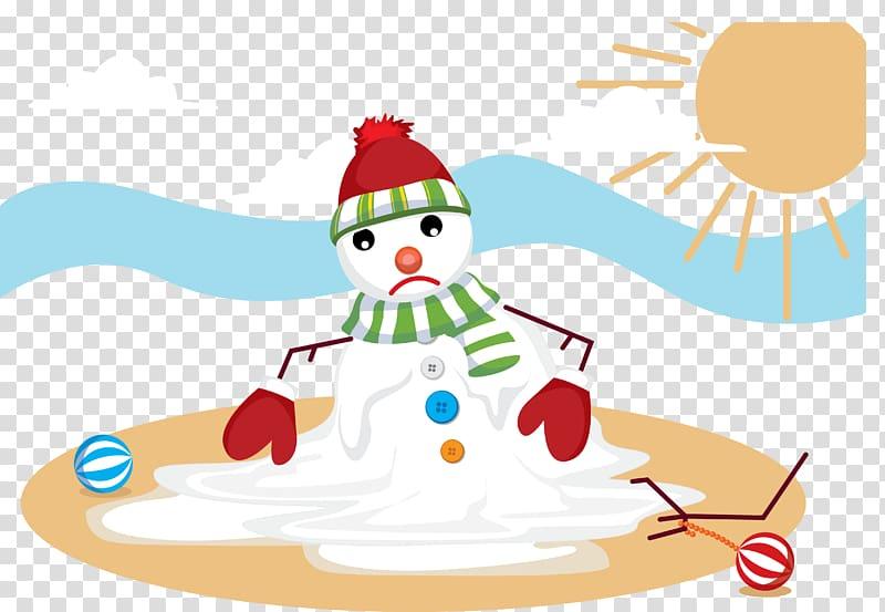 Snowman Melting Euclidean Illustration, Melting snowman.