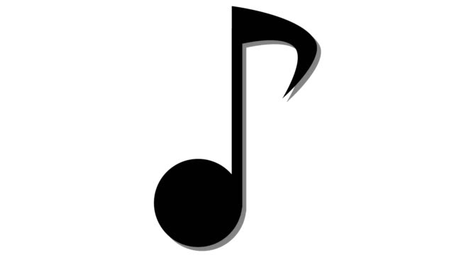 Single Musical Note In And Out Animation Black Stock Video.