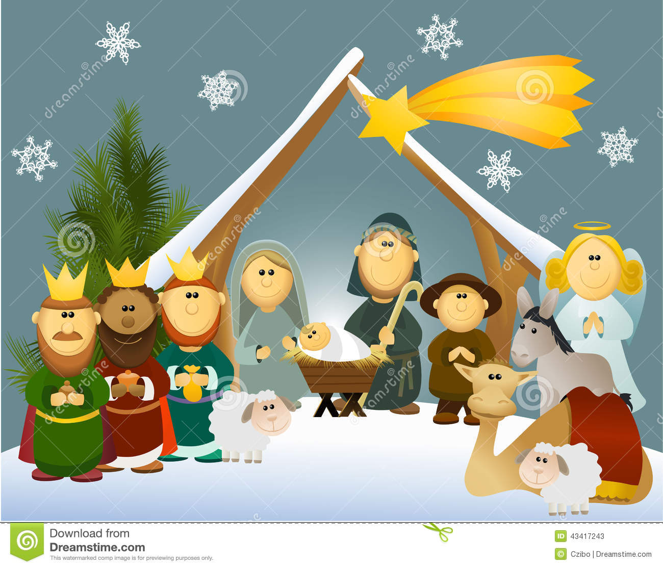 Cartoon Nativity Scene Stock Vector.