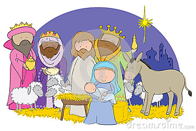 Cartoon Nativity Scene Royalty Free Stock Photo.