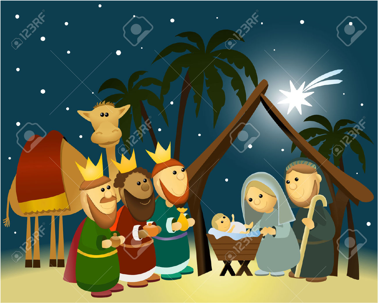 Cartoon Nativity Scene With Holy Family Royalty Free Cliparts.