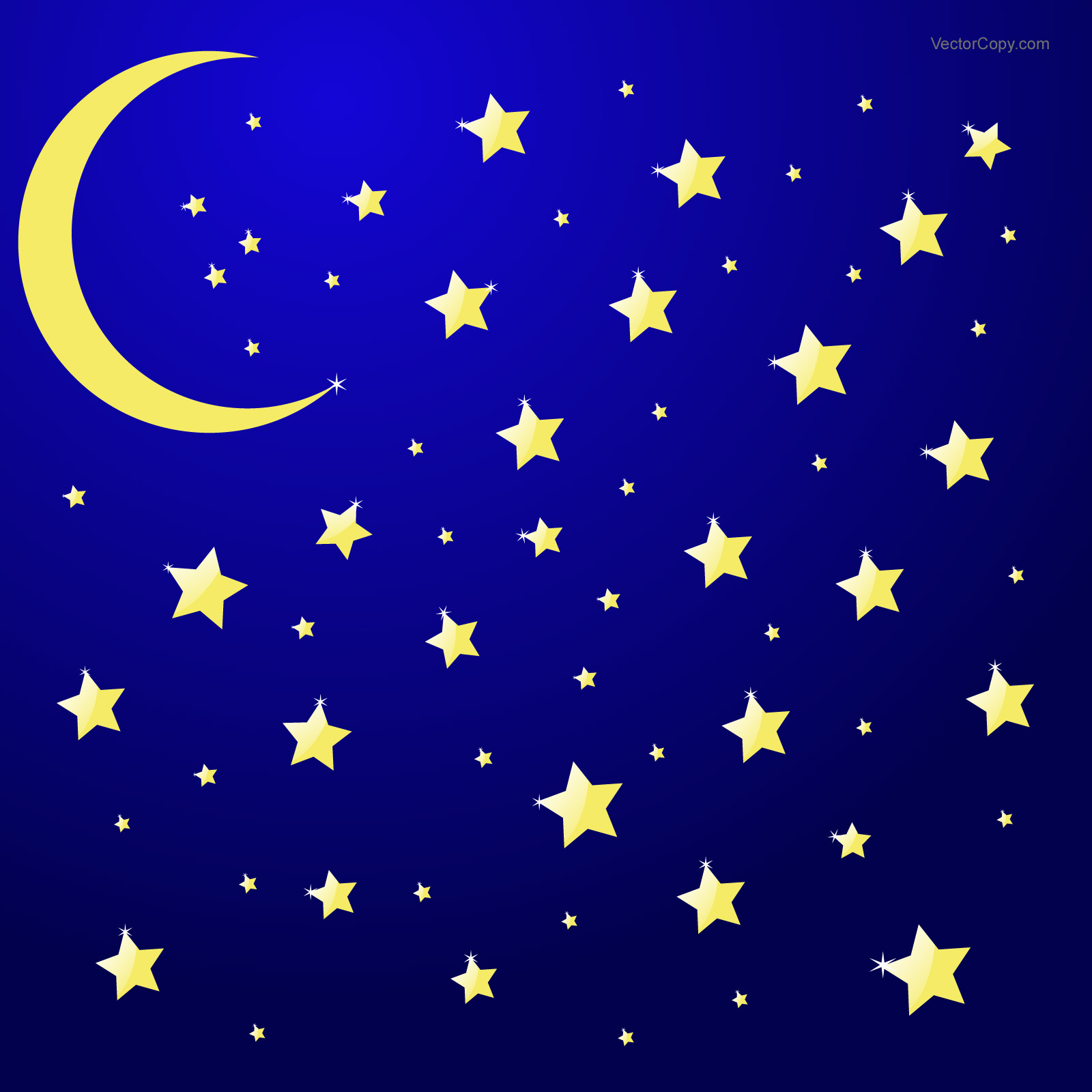 Free download Night sky with moon and stars vector eps by.