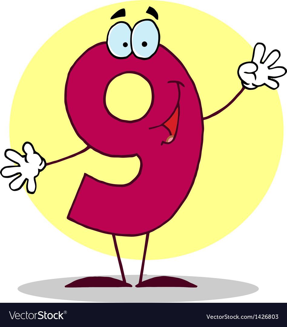 Funny Cartoon Friendly Number 9 Nine Guy.
