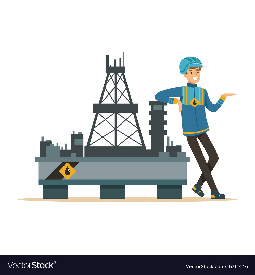 Oilman standing next to an oil rig drilling.