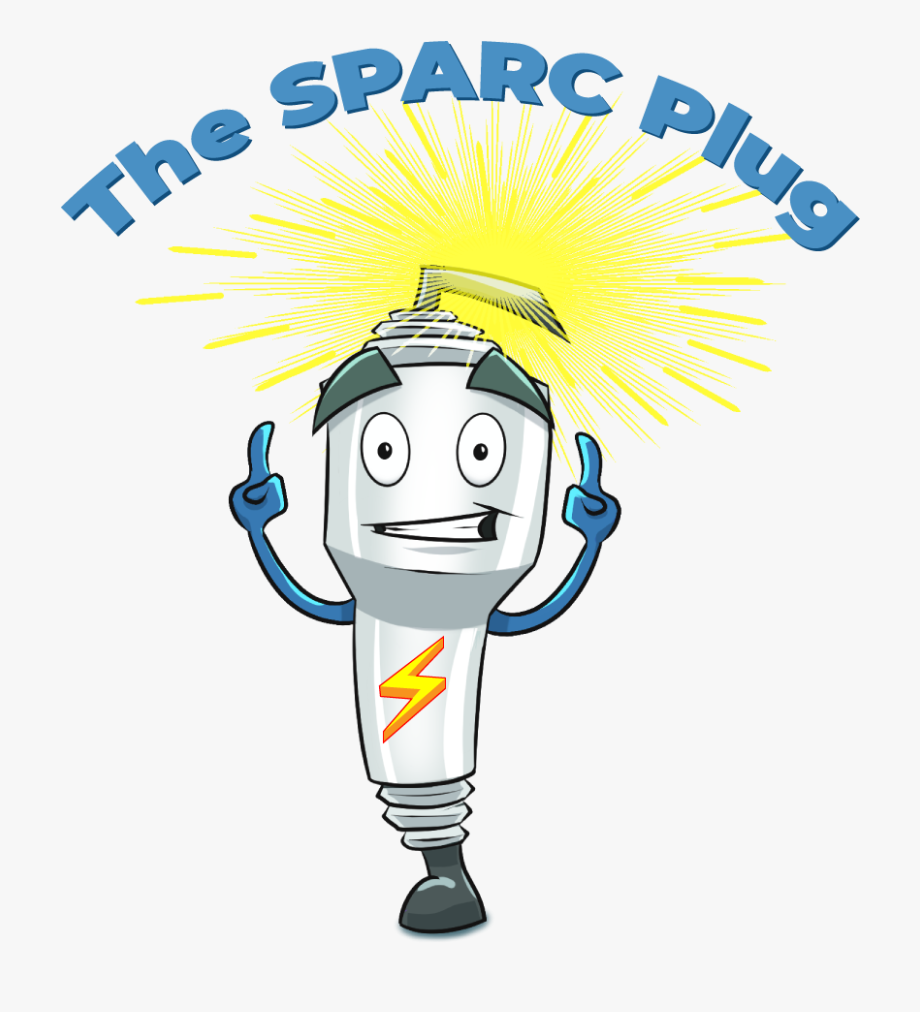 Cartoon Of Spark Plug Pointing To Text \