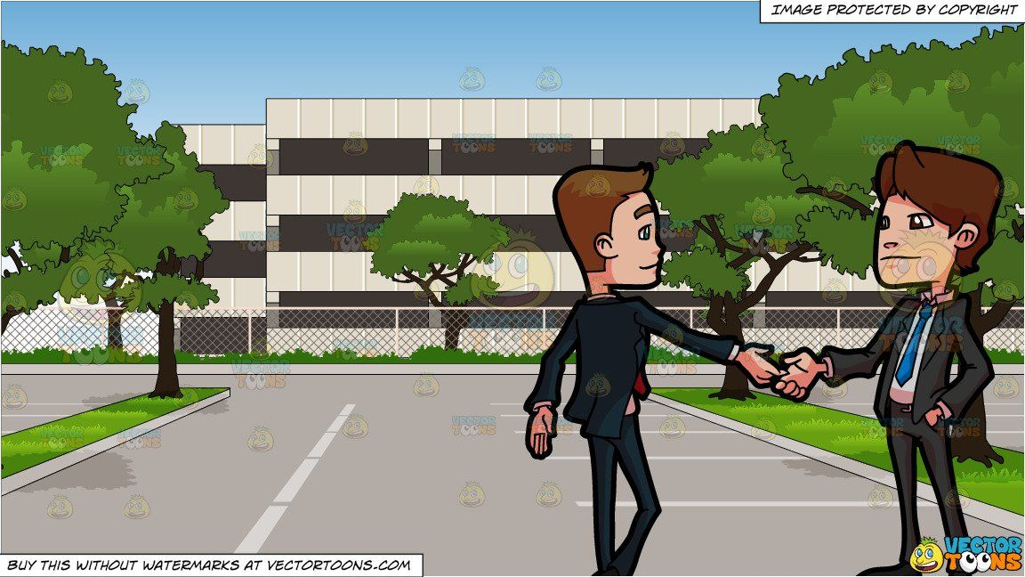 clipart #cartoon Two Business Associates Greeting Each Other.