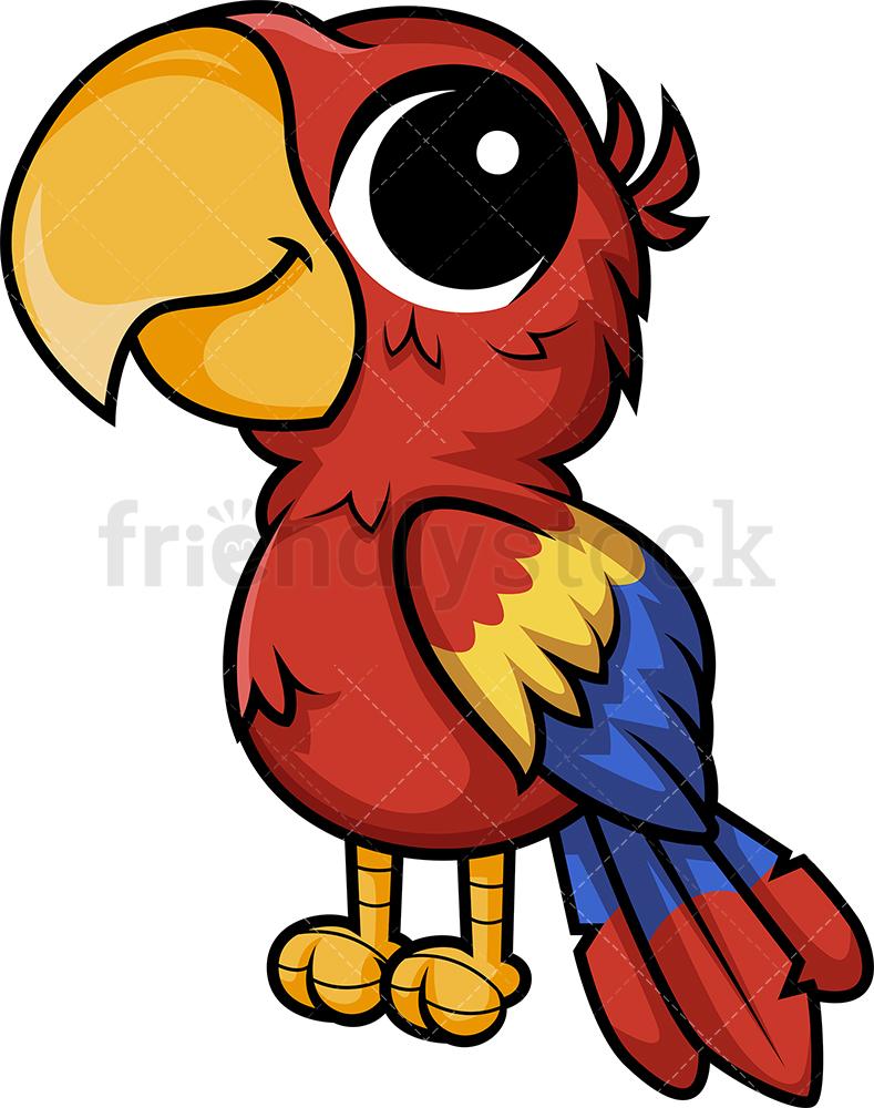 Chibi Kawaii Macaw Parrot.