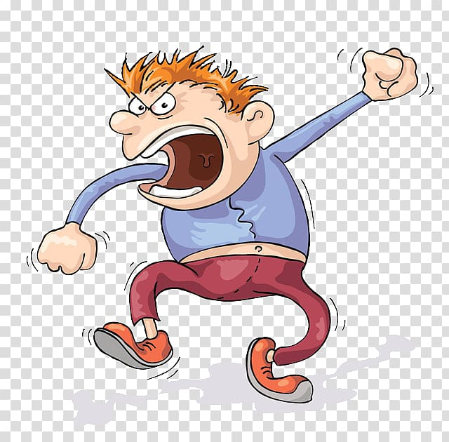Animated angry man, Screaming Anger Cartoon , Angry man transparent.