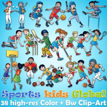 38 Sports Physical Education Global Clipart, Color plus Black and White  clip art.