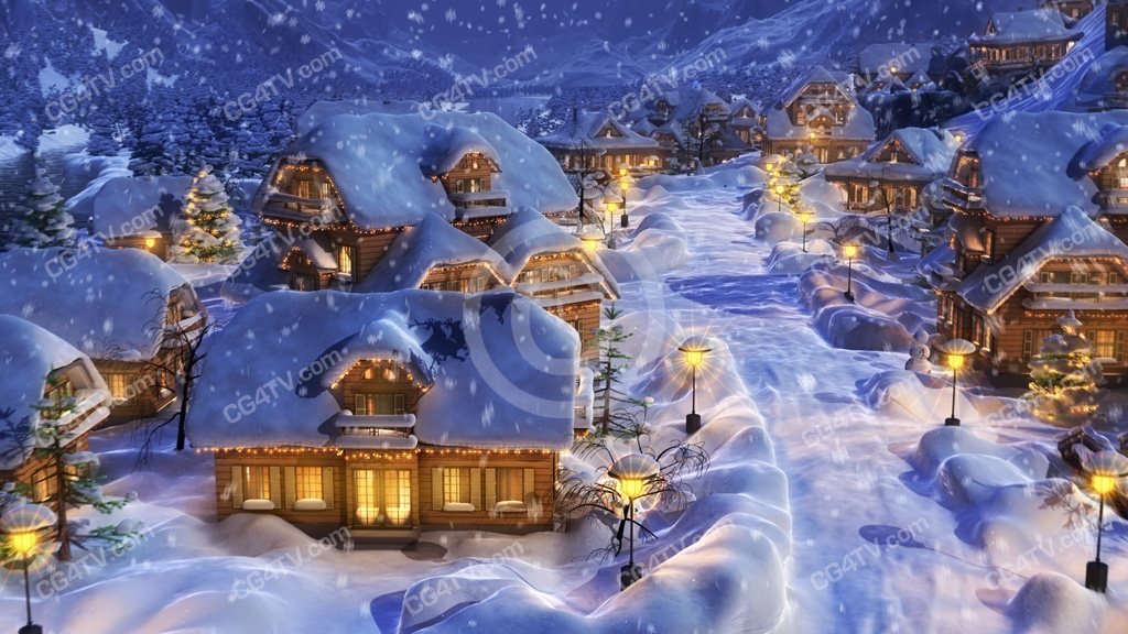 Christmas 3D Animation. Full HD 1080p Stock Footage Clip..