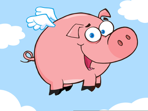 Animated Flying Pig Clipart.