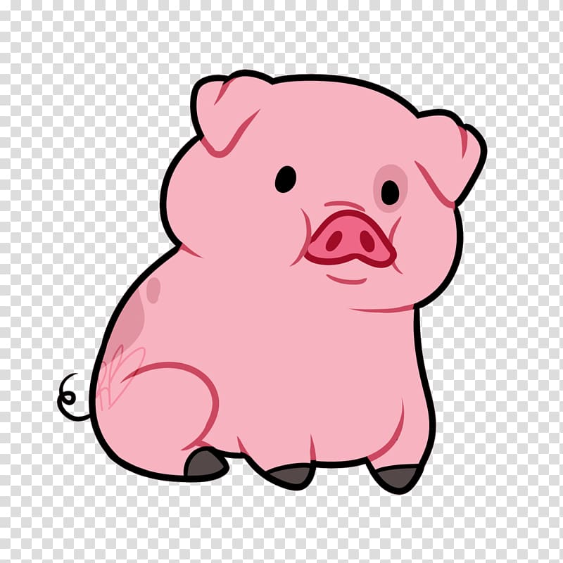 Pink pig illustration, Domestic pig Animated cartoon , pig.