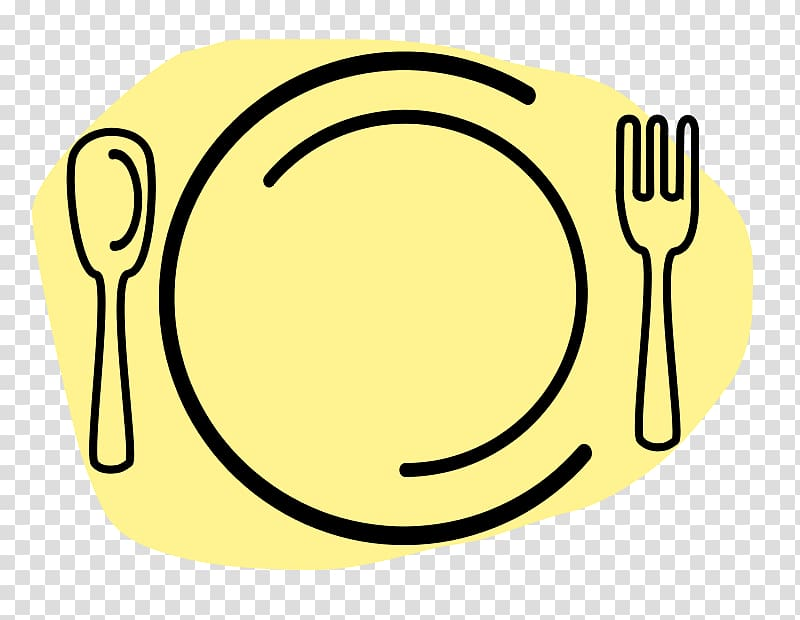 Plate with spoon and fork illustration, Dinner Meal Cooking.