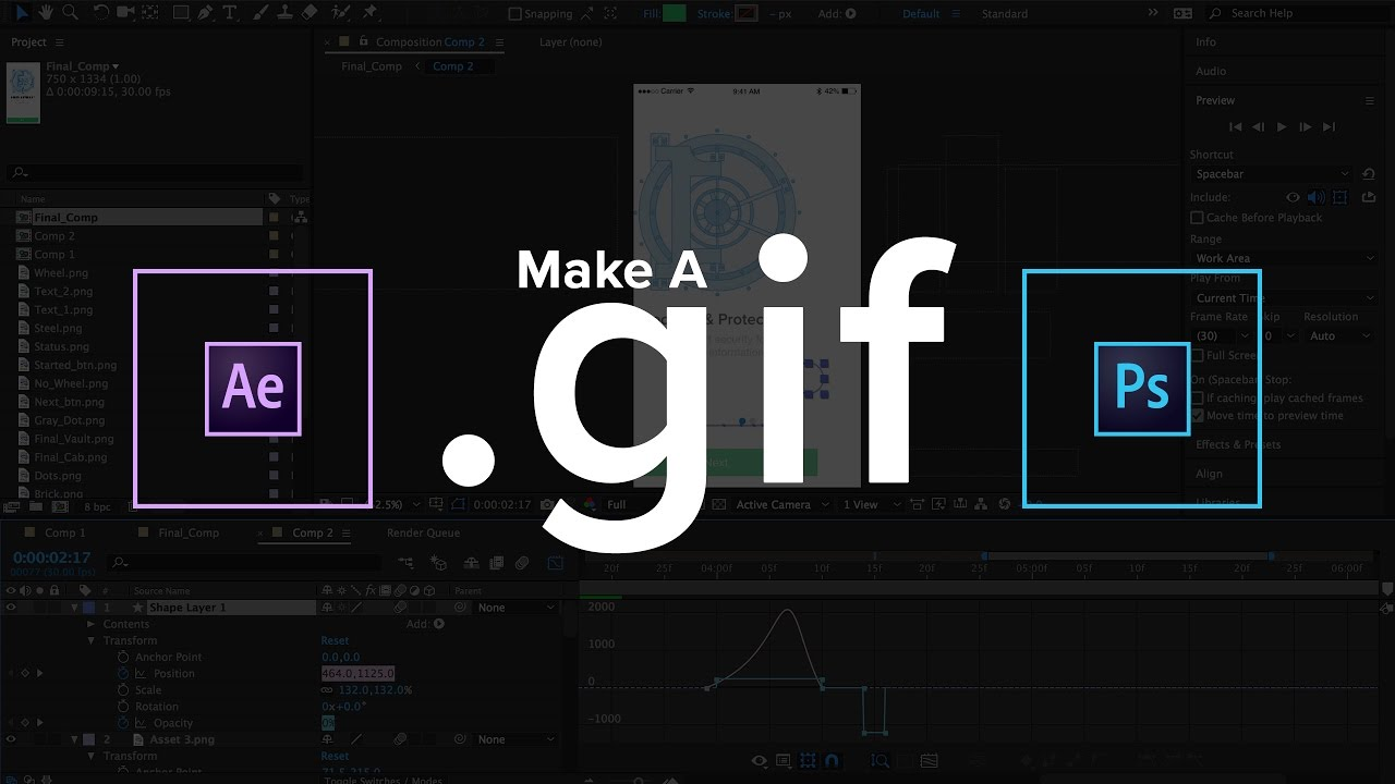 Make animated GIFs in After Effects and Photoshop (2018).