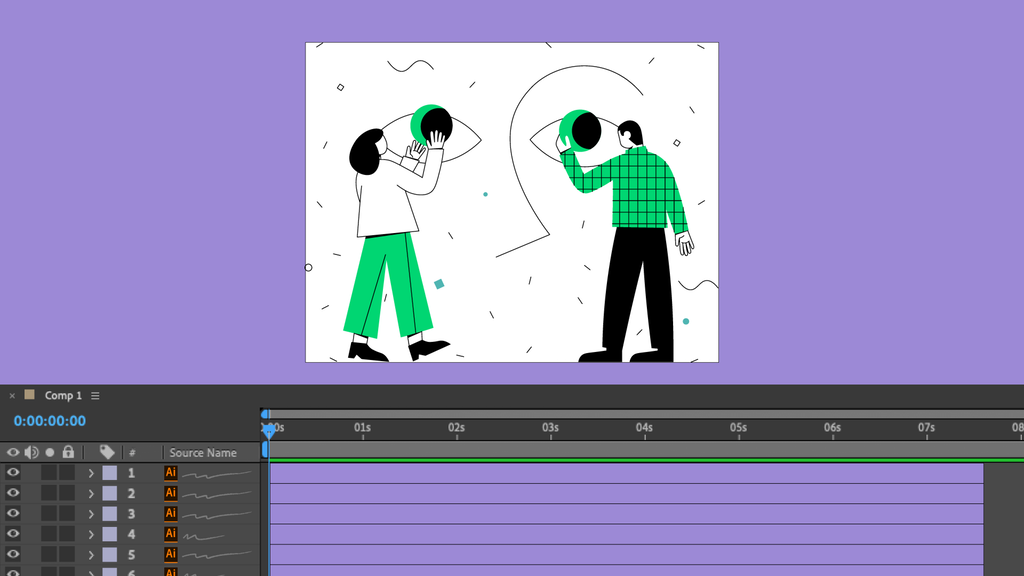 Designing in Illustrator for After Effects animation.
