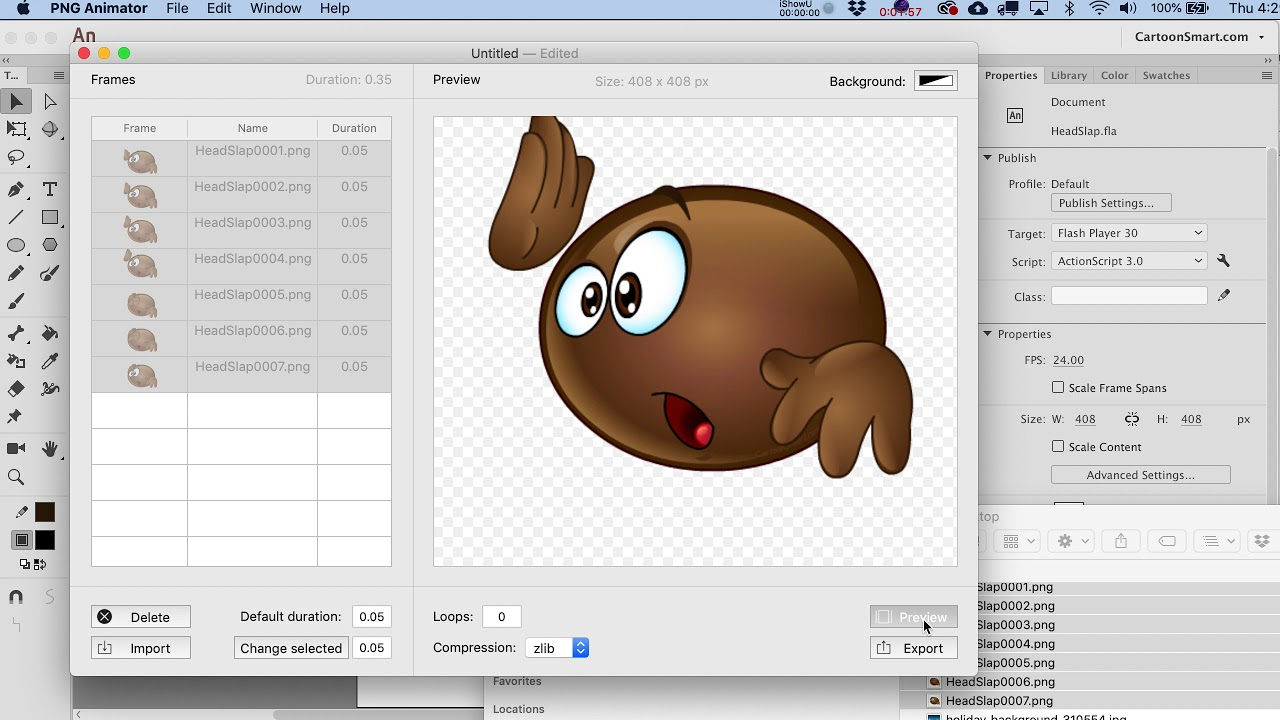 Learn how to create animated PNG files from Adobe Animate.