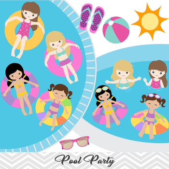Girls Pool Party Clip Art Girls Swim Party Clip Art Summer Swim Pool Party  00197.