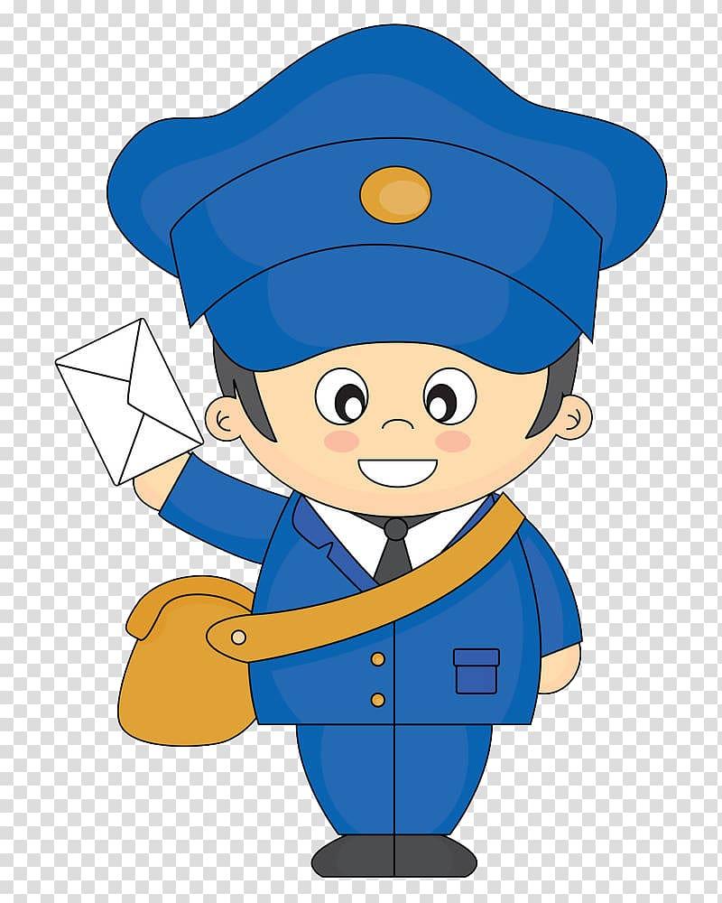 Policeman , Cartoon Mail carrier , A cartoon postman with a.