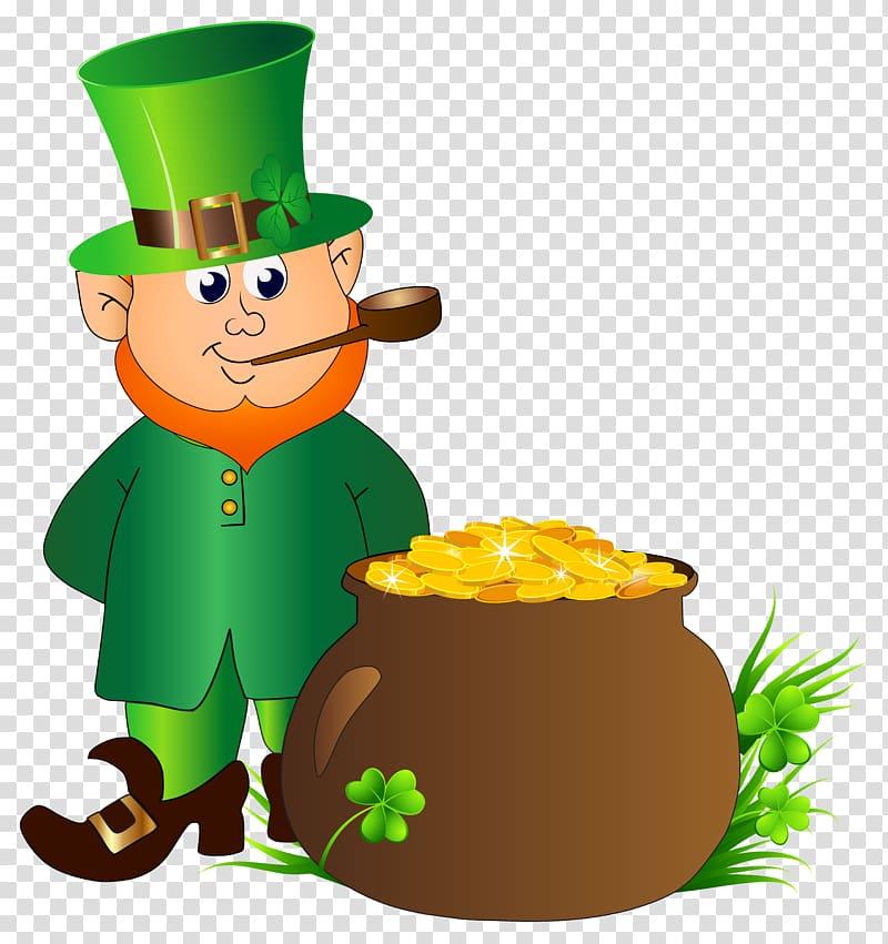 St. Patrick beside pot of gold animated illustration.