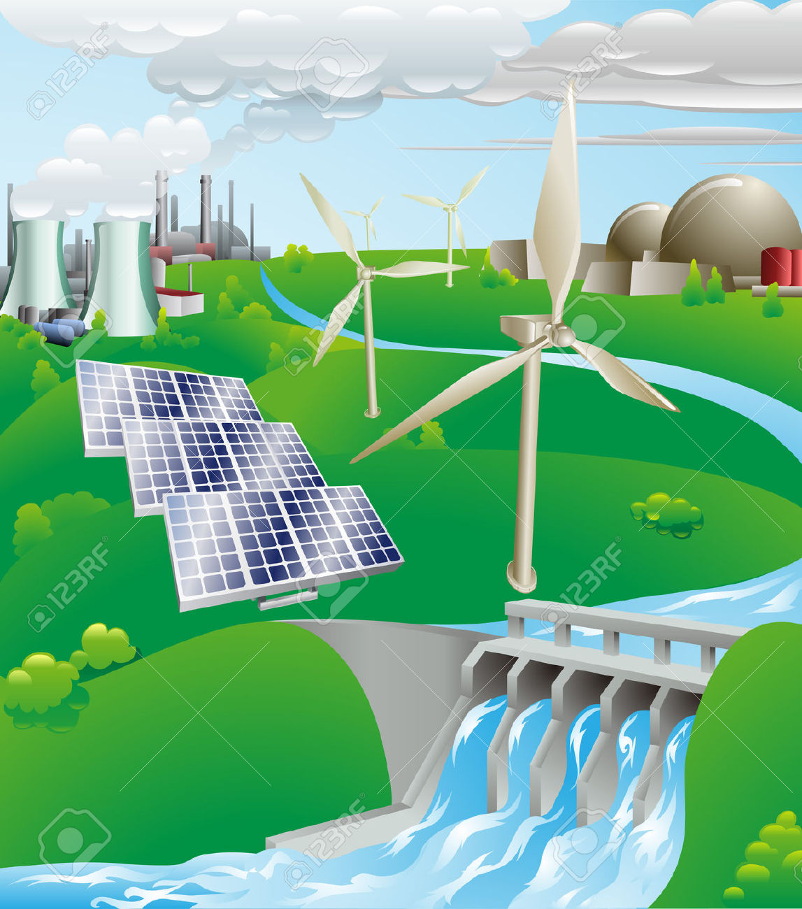 Hydroelectric Power Plant Clipart.