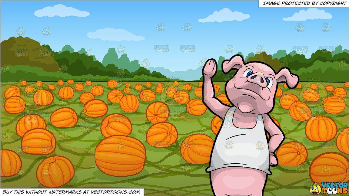 clipart #cartoon Paulie The Pig Waving Hello and A Pumpkin.