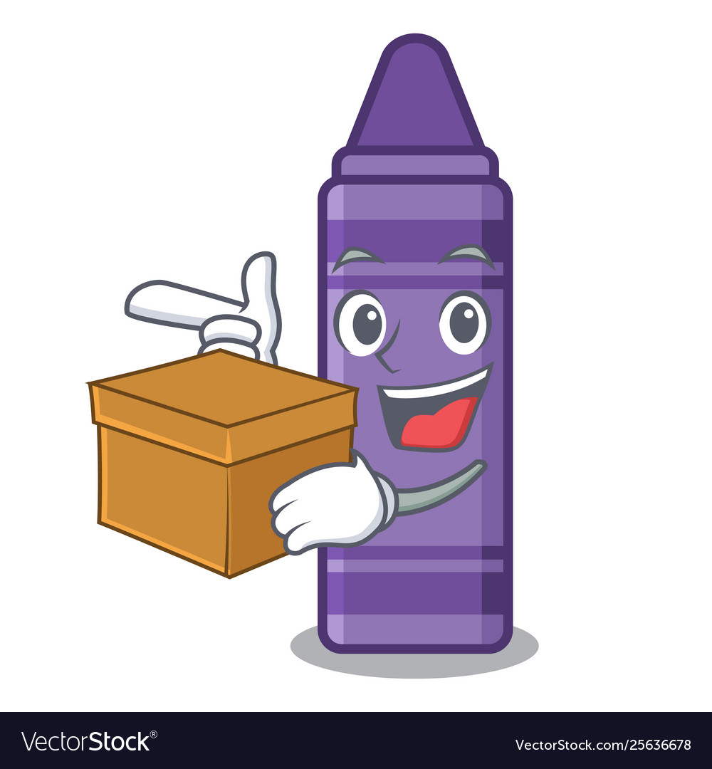 With box purple crayon in cartoon shape.