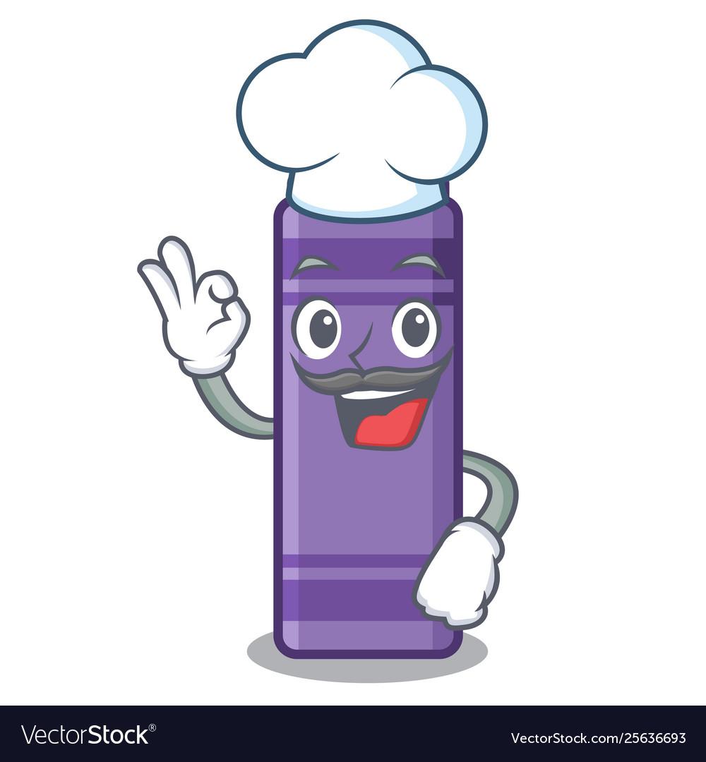 Chef purple crayon in cartoon shape.