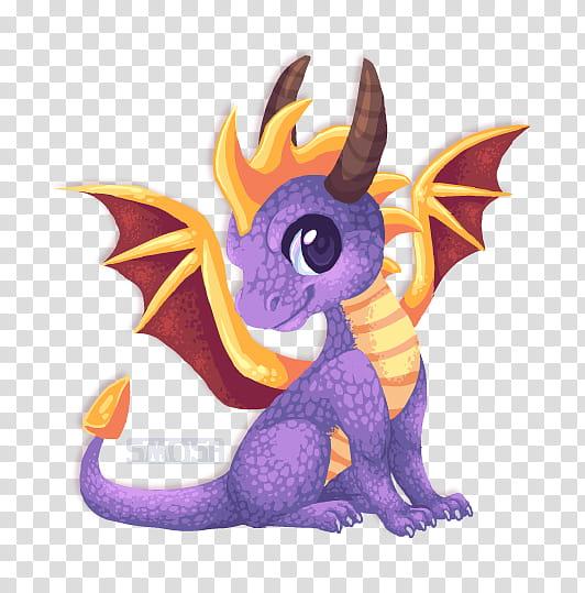 Spyro, purple dragon illustration transparent background PNG.