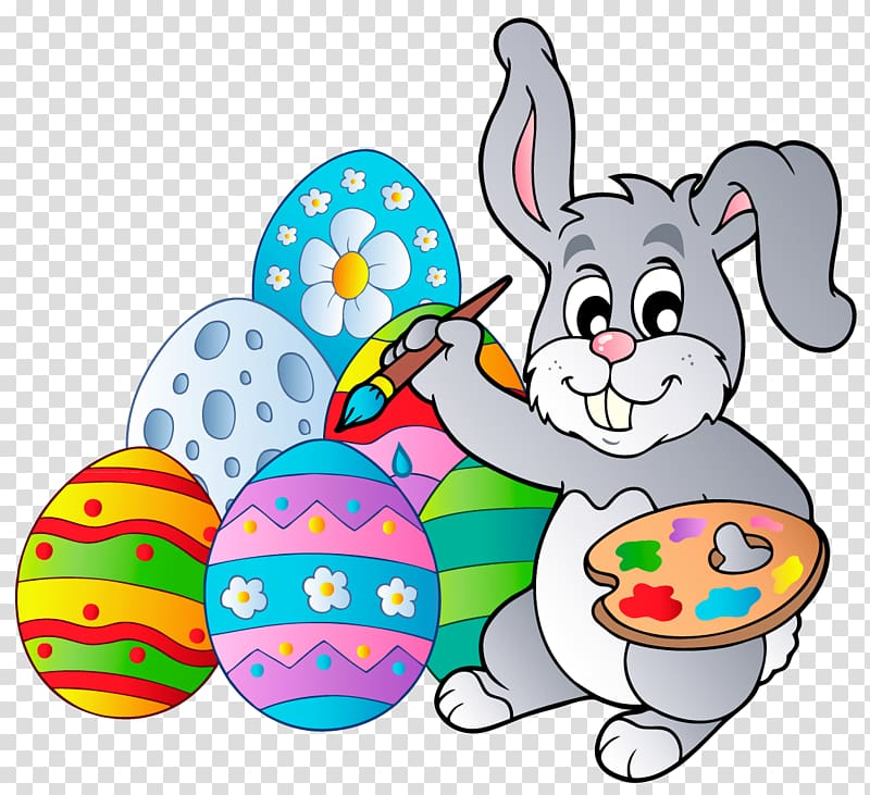 Animated rabbit painting Easter eggs illustration, Easter Bunny.