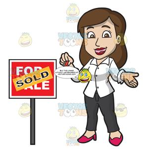 A Female Real Estate Agent Successfully Sells A House.