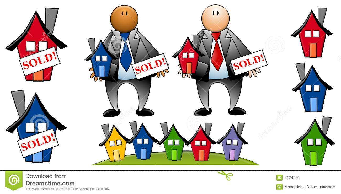 Real Estate Agents With Houses Stock Illustration.
